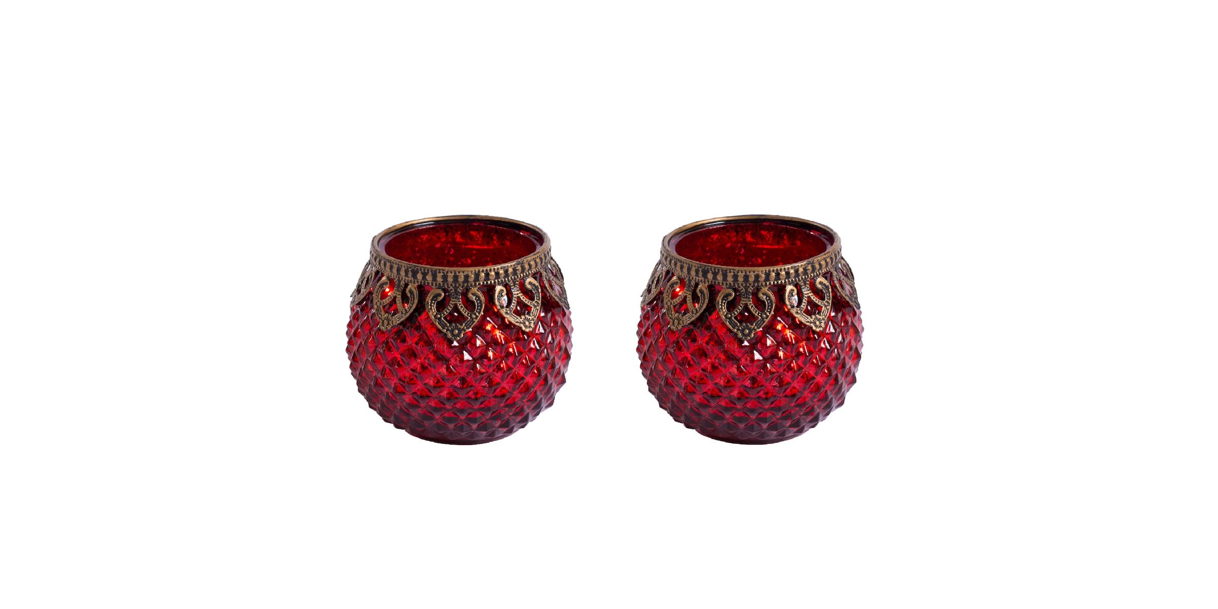 Original Windlicht Teelichtglas Rot Gold