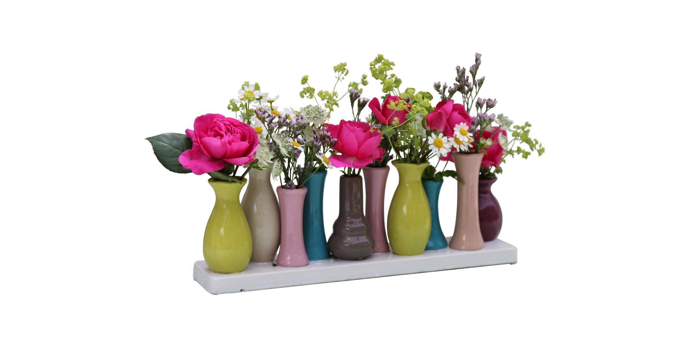 Keramikvasenset Blumenvase Keramikvasen bunt