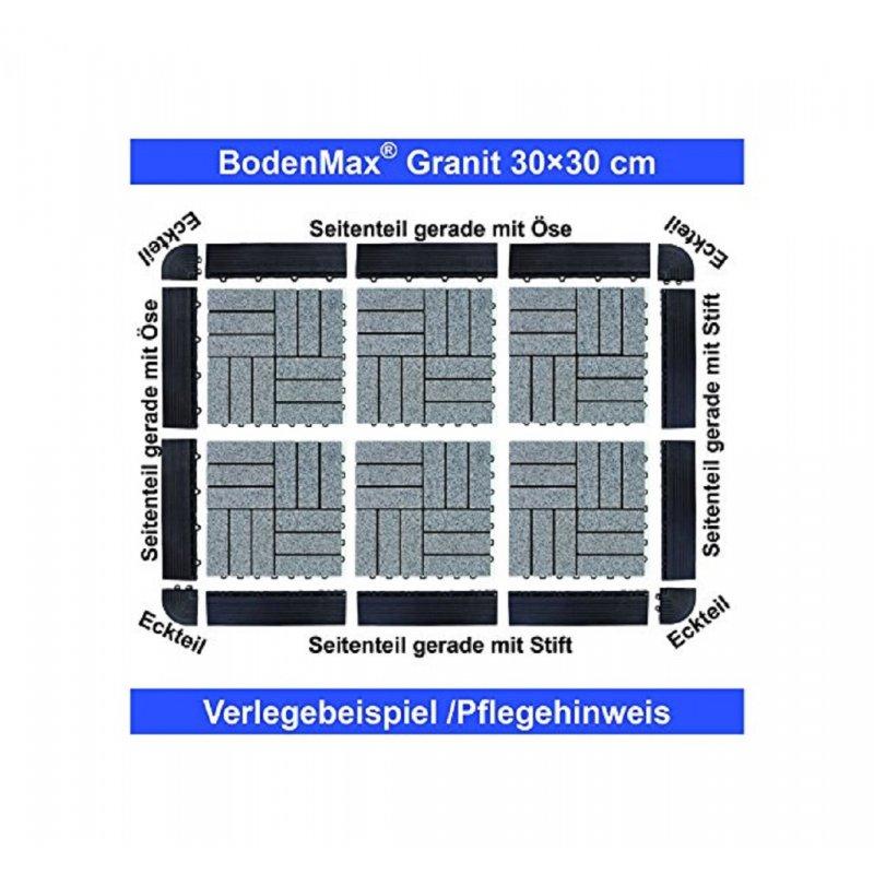 BodenMax® LLGRA3H-GRY-5 Dalles clipsables Granit baroque Roche naturelle  Carreaux 30x30 cm Intérieur extérieur terasse jardin salle de bain Coloris  ...