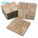 BodenMax Pack of 8 Interlocking Decks Travertine Tiles...
