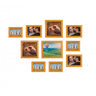Home&Decoration Pack of 10 Decorative Natural Wood Picture Frames With Easel - 4 Different Sizes