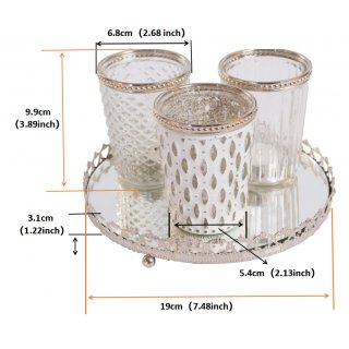 Set of 3 Decorative Glass Candle Holders with Mirror Tray - Antique White Candle Holder