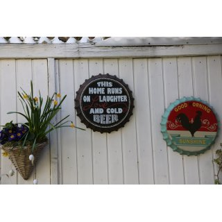 Wall Sign Tin Sign Bottle Cap Ø 35,5 cm Wall Decal Lettering Sign Wall Decor Sign Homedeko (This Home)