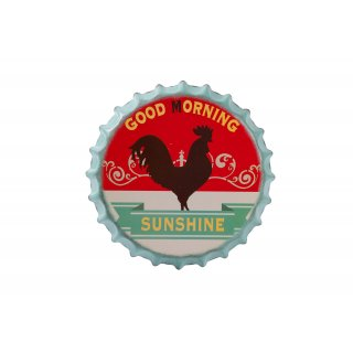 Wall Sign Tin Sign Bottle Cap Ø 35.5 cm Wall Decor Lettering Sign Wall Decor Sign Homedeko (Good Morning)